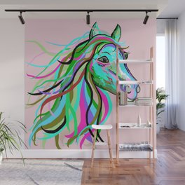 Teal and Pink Horse Wall Mural