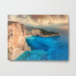 The famous Navagio (shipwreck) in Zakynthos island, Greece Metal Print
