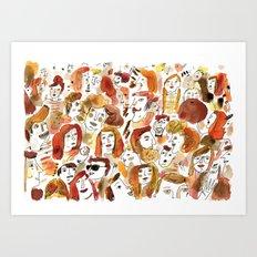 Gathering of Redheads Art Print