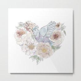 bird of paradise , paradisebirds , simple floral graphic design , gift for gardener Metal Print