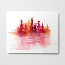 Autumn Woods Watercolor Metal Print