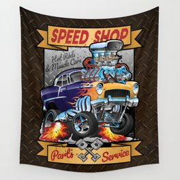 Speed Shop Hot Rod Muscle Car Parts and Service Vintage Cartoon Illustration Wall Tapestry