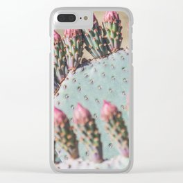 Prickly Pear with Pink Buds Clear iPhone Case