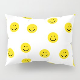 Smiley faces white yellow happy simple smiley pattern smile face kids nursery boys girls decor Pillow Sham