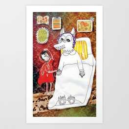 Girl & Wolf Art Print