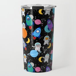 Space Cats Astronaut Kittens Rocket Ship Pattern Travel Mug