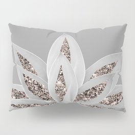 Gray Agave with Rose Gold Glitter #1 #shiny #tropical #decor #art #society6 Pillow Sham