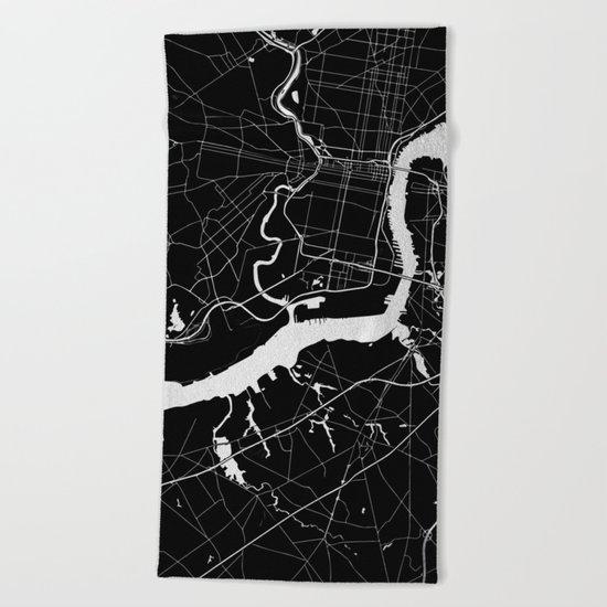 Philadelphia - Black and Silver Beach Towel