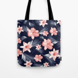 Tropical Flowers Palm Leaves Finesse #6 #tropical #decor #art #society6 Tote Bag