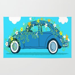 blue car flowers Rug