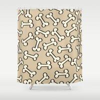bones Shower Curtains featuring Bones by Jessica Santos