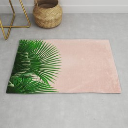 Palm Leaves On Pink Background Rug
