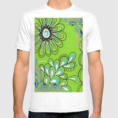 Green Flower White Mens Fitted Tee MEDIUM
