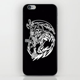 Hand Inked Grim Reaper Illustration iPhone Skin
