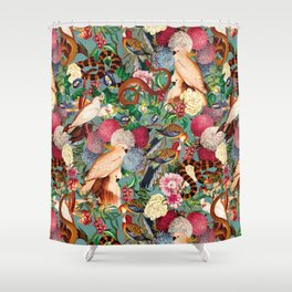Floral and Animals pattern Shower Curtain