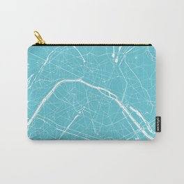 Paris France Minimal Street Map - Turquoise Blue Carry-All Pouch