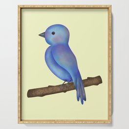 Cute blue bird on the branch Serving Tray
