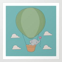 Kawaii Elephant Hot Air Balloon Art Print
