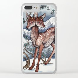 Winter Fawn Clear iPhone Case