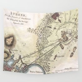 Vintage Map of Athens (1784)  Wall Tapestry