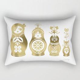 Russian Nesting Dolls – Gold Palette Rectangular Pillow