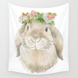 Lop Rabbit Floral Wreath Watercolor Painting Wall Tapestry