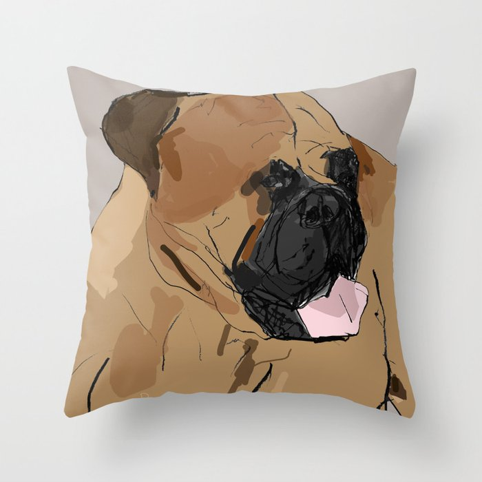 Bull Mastiff Throw Pillow