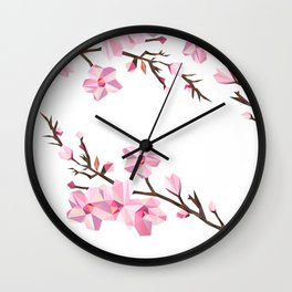 Geometric Japanese Sakura - Cherry Blossoms on White Background Wall Clock