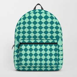 Magic Mint Green and Teal Green Diamonds Backpack
