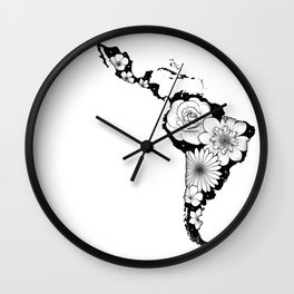 America Latina with flowers and stars Wall Clock