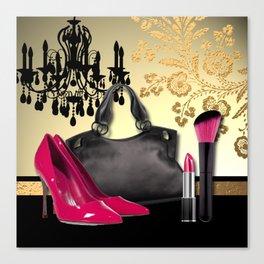 Chandelier Handbag Pumps Cosmetics Fashion Collage Canvas Print
