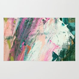Meditate [2]: a vibrant, colorful abstract piece in bright green, teal, pink, orange, and white Rug