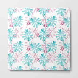 PINK AND GREEN PALM LEAFS - TROPICO Metal Print