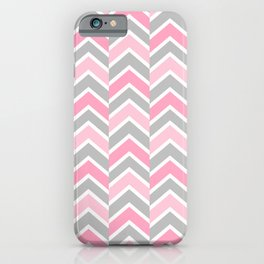 Pink Gray Chevron Tile iPhone Case