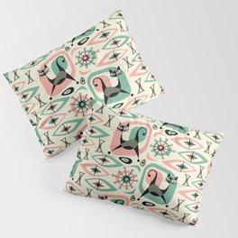 Mid Century Cat Abstract - Pink Aqua Pillow Sham