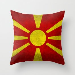 """Flag of Macedonia in """"Super Grunge"""" Throw Pillow"""