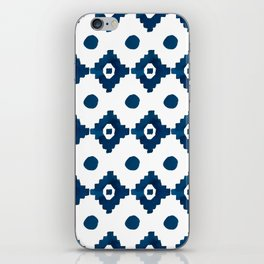 Abstract navy blue watercolor geometrical pattern iPhone Skin