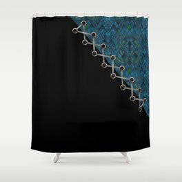 Lacing . 2 . Blue and black . Shower Curtain