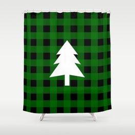 Christmas Tree - green buffalo check Shower Curtain