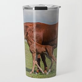 Mare and Her Newborn Colt Travel Mug