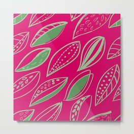 Green Scandinavian style ink brush foliage on a magenta background Metal Print
