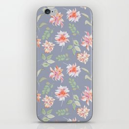 Blue Moody Florals iPhone Skin