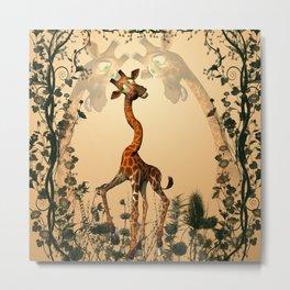 Funny giraffe  Metal Print