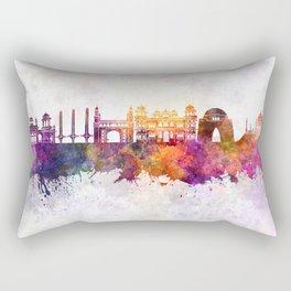Karachi skyline in watercolor background Rectangular Pillow