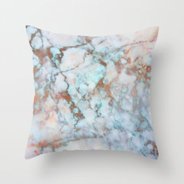 Rose Marble with Rose Gold Veins and Blue-Green Tones Throw Pillow