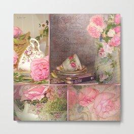 Rose de Francais Collage Metal Print