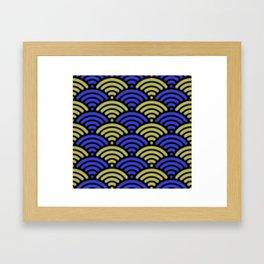 Blue and Yellow w/Black Half Circles Framed Art Print