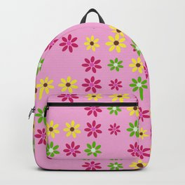 Tiny Yellow Purple Green Flowers Pattern Backpack