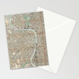 Vintage Map of London England (1862) Stationery Cards