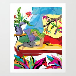 """Garden of Dreams"" Paulette Lust's contemporary, original, colorful, whimsical, art. Art Print"
